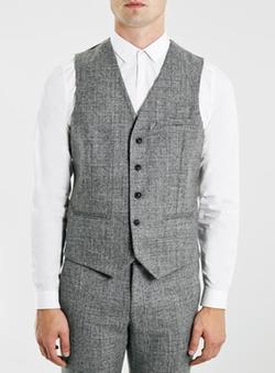 Topman - Textured Wool Blend Suit Vest