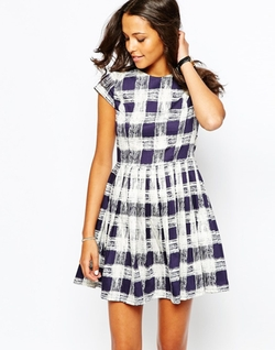 People Tree  - Organic Cotton Skater Dress In Brushed Check Print
