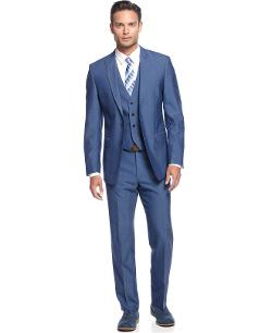 Calvin Klein  - Medium Blue Vested Slim X Fit Suit