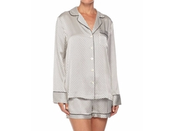 Neiman Marcus  - Contrast-Trim Long-Sleeve Shortie Pajama Set