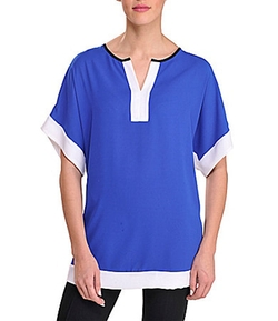 Peter Nygard - Colorblock-Trim Tunic Blouse