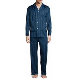 Bonsoir London  - Tonal-Striped Cotton Pajama Set