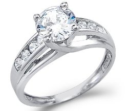 Sonia Jewels - Round Solitaire Cubic Zirconia Engagement Ring