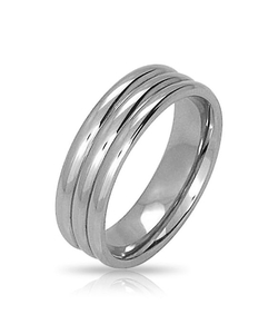 Bling Jewelry - Stainless Steel Unisex Triple Grooves Band Ring