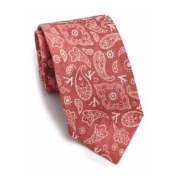 Isaia  - Faded Paisley Linen & Silk Tie