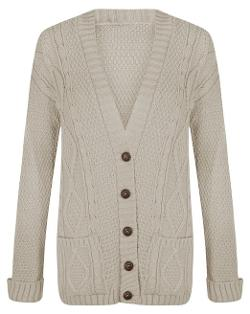 Outofgas  - Womens Cable Knitted Long Sleeve Button Grandad Cardigan
