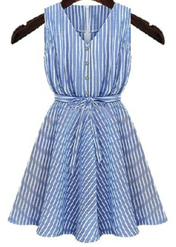 Romwe - V Neck Striped Flare Dress