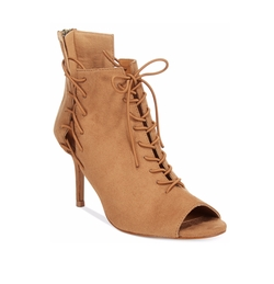 Chelsea & Zoe - Kira Lace-Up Peep-Toe Booties