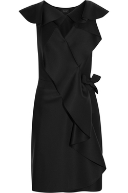 Lanvin - Ruffled Brushed-Satin Wrap Mini Dress