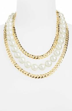 Givenchy  - Faux Pearl & Link Bib Necklace
