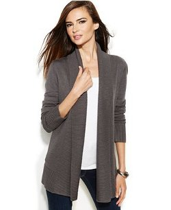Inc International Concepts - Ribbed-Knit Open-Front Cardigan
