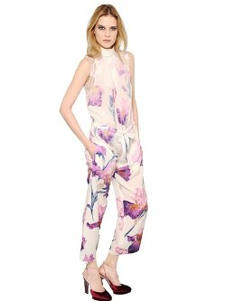 Nina Ricci  - Floral Printed Silk Crepe Jumpsuit