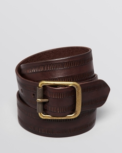 John Varvatos  - Etched Dash Leather Belt