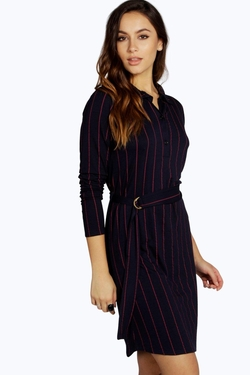 Boohoo  - Hayley Stripe Buckle Detail Shirt Dress