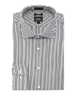 Neiman Marcus  - Non-Iron Trim-Fit Bengal Striped Dress Shirt, Black