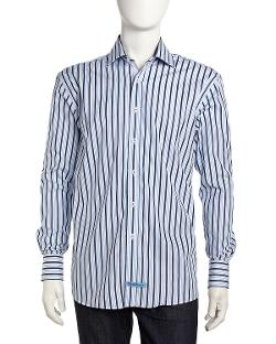 English Laundry  - Mix-Stripe Long-Sleeve Dress Shirt, Blue/Navy