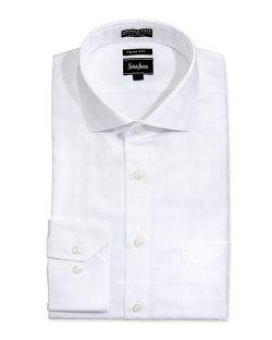 Neiman Marcus  - Non-Iron Trim-Fit Tonal Checked Dress Shirt