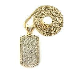 NYfashion101 - Gold Tone Dog Tag Pendant