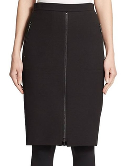 Akris Punto  - Zip-Front Wool Skirt