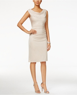 Tahari ASL  - Embellished Cowl-Neck Sheath Dress
