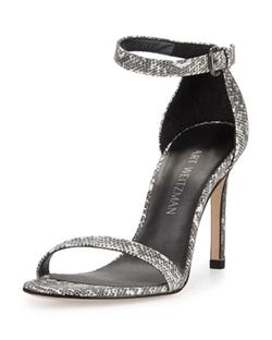 Stuart Weitzman  - Walkway Lizard-Embossed Ankle-Strap Sandals