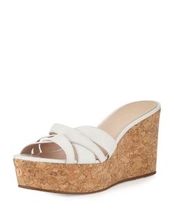 Kate Spade New York  - Talcott Leather Crisscross Wedge Sandals