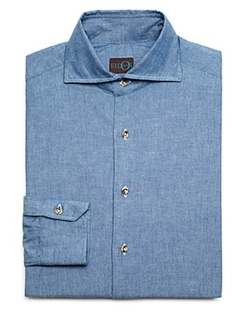 Eidos - Washed Japanese Denim Regular Fit Button Down Shirt