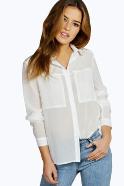 Boohoo Petite - Imogen Lace Panel Shirt