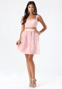Bebe - Lace & Charmeuse Crop Tank Top