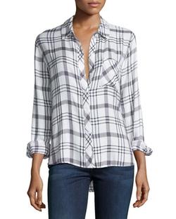 Rails - Hunter Plaid Long-Sleeve Shirt, White/nightfall