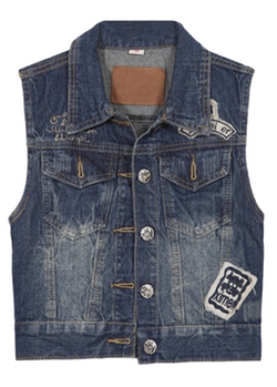 Romwe - Lapel Bleached With Pockets Denim Vest