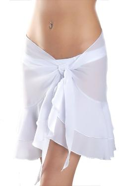 Sassy  - Short White Ruffle Bridal Swimsuit Sarong