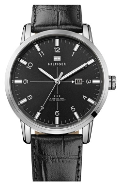 Tommy Hilfiger - Round Embossed Leather Strap Watch