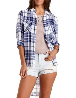 Charlotte Russe - Button-Up Plaid Top