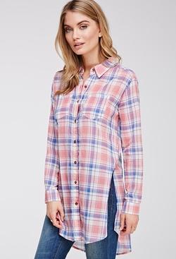 Forever21 - Tartan Plaid Longline Shirt