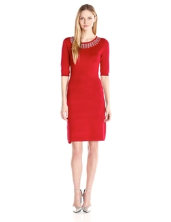 Allison Brittney - Elbow Sleeve Scoop Neck Dress