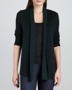 White + Warren  - Cashmere Animal-Print Cardigan
