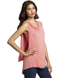 Loveappella  - Coral Pink Jersey Knit Cowl Neck Ruffled Back To