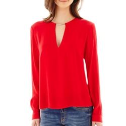Mng By Mango - Long-Sleeve Metal Keyhole Blouse