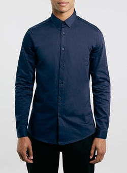 Topman - Premium Navy Long Sleeve Smart Shirt