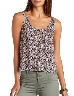 Charlotterusse - Studded Abstract Print Swing Tank Top