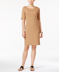 Karen Scott - Boat-Neck Elbow-Sleeve Dress