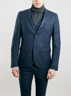Topman - Texture Ultra Skinny Fit Three Piece Suit