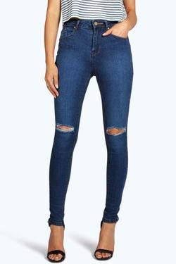 Boohoo  - Jennie High Waisted Knee Rip Skinny Jeans