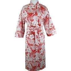 Touch Of Europe  - Red And White Floral Cotton Kimono Robe