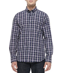 Neiman Marcus   - Long-Sleeve Plaid Shirt