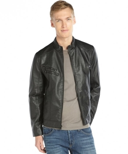 Kenneth Cole Reaction  - Marble Faux Leather Zip Front Jacket