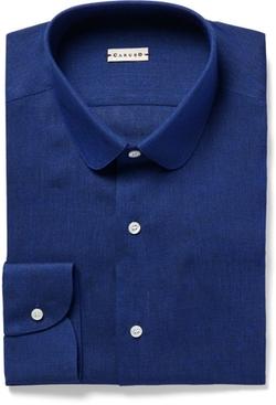 Caruso - Blue Slim-Fit Penny-Collar Slub Linen Shirt