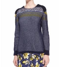 Risto - Mixed-Stitch Long-Sleeve Knit Sweater