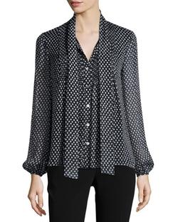 Diane von Furstenberg   - Marjorie Dotted Batik Silk Top